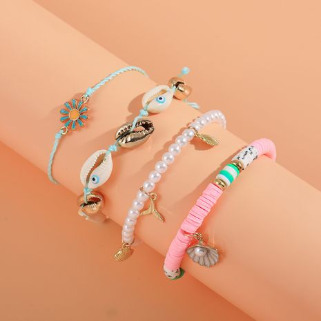 new soft pottery shell tassel beach style pottery clay rainbow bracelet set NHLL260006's discount tags