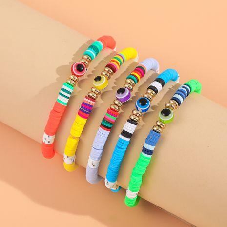 new soft pottery rainbow demon eye beach style bracelet set NHLL260000's discount tags