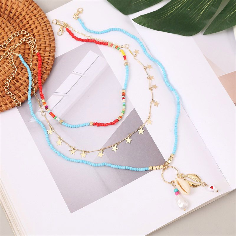 Bohemian style trend star shell rice bead multilayer handmade pearl pendant necklace jewelry NHLA260011