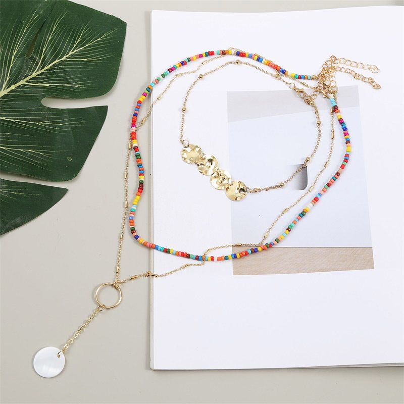 Bohemian Long Shell Rice Bead Multilayer Trend alloy Pendant Necklace Jewelry NHLA260014