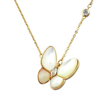 New trend white shell beads butterfly gift short copper clavicle chain for women wholesale NHLJ260017's discount tags