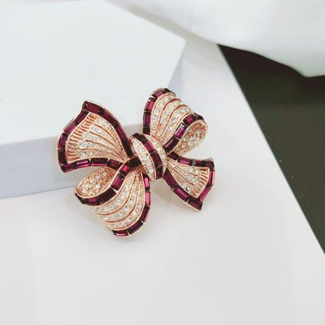 autumn new Korean fashion gold-plated bow brooch wild zircon copper corsage for women NHLJ260020's discount tags