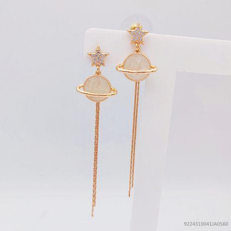Korea new trend niche star planet long tassel alloy earrings for women NHLJ260023's discount tags