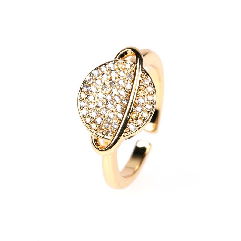 new micro diamond saturn sphere tide ornament copper open ring NHPY260037