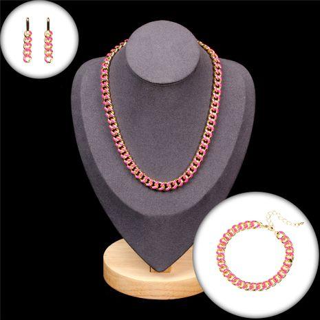 Chaîne de mode hip hop style chaîne épaisse grasse or boucles d'oreilles en cuivre bracelet collier ensemble NHPY260048's discount tags