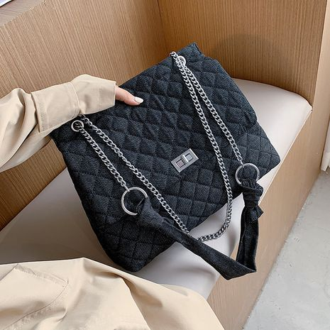 Fashion rhombic chain messenger bag wild one-shoulder small square bag NHLH260200's discount tags