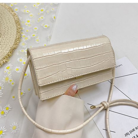 Popular chain crocodile pattern shoulder solid color small square bag NHLH260224's discount tags