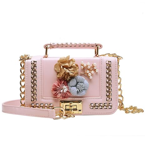 Fashion handbag color flower pearl small square bag shoulder diagonal bag NHLH260297's discount tags