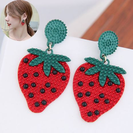 925 Silver Needle Korean Fashion Sweet Concise Fruit Strawberry Personality Earrings NHSC260325's discount tags