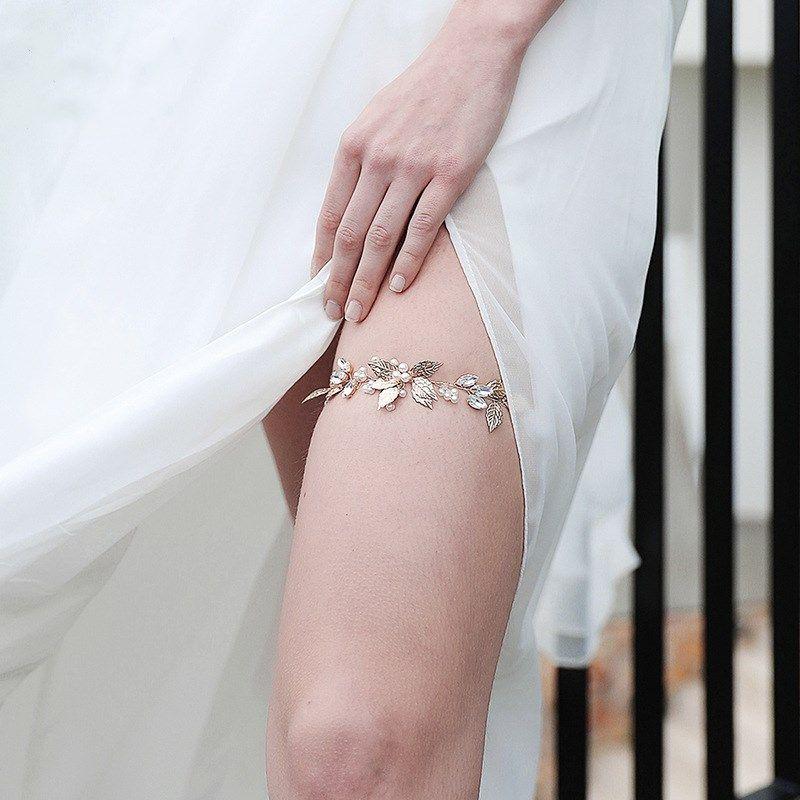 Mode nouvelle jarretière élastique à la main strass clouté vente chaude mariée robe de mariée ceinture jambe NHHS259857