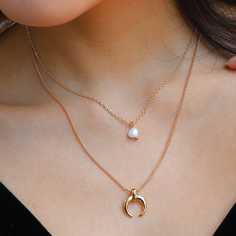 Fashion natural freshwater pearl pendant  multi-layer moon women's necklace NHAN251874