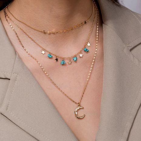multi-layer crescent pendant necklace natural turquoise small star clavicle chain NHAN251880's discount tags