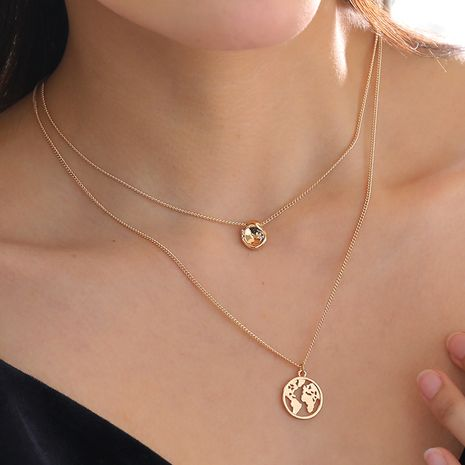 creative 18k gold pea  world map  multi-layer women's necklace NHAN251887's discount tags