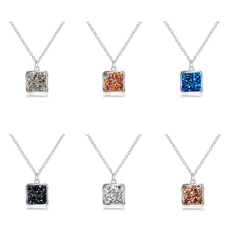 hotselling  individual crystal clusters geometric shapes imitation natural stone resin pendant necklace  NHAN251899
