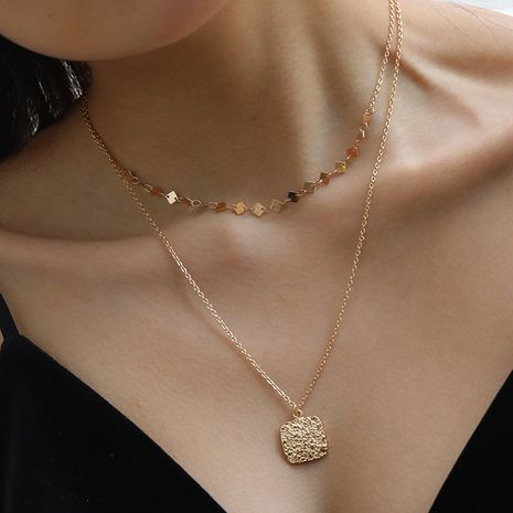 multi-layer necklace 18k gold square metal pendant necklace  wholesale NHAN251896's discount tags