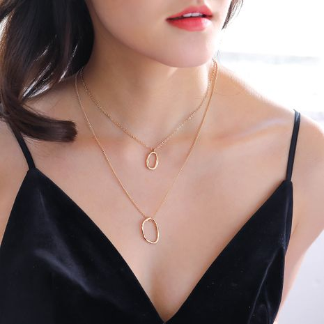 personality special-shaped ring double-layer multi-layer wild necklace NHAN251906's discount tags