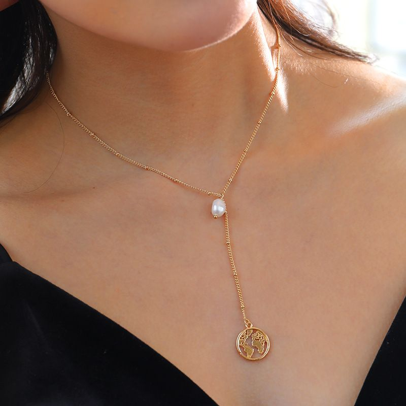 multilayer ladies freshwater pearl necklace 18k gold world map pendant necklace  NHAN251907