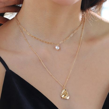 double-layer necklace natural freshwater pearl beat special-shaped drop pendant necklace wholesale  NHAN251910's discount tags