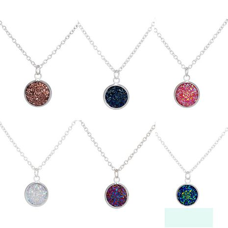 Hot-Selling Silver Round Heart Multicolor Crystal Cluster Love Natural Stone Pendant Necklace Jewelry NHAN251919's discount tags