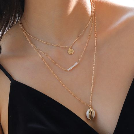 Fashion gold coin freshwater pearl pendant multilayer necklace for women wholesale NHAN251920's discount tags