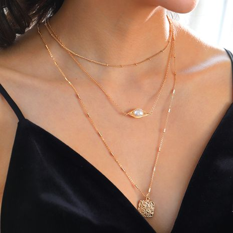 wholesale ladies multi-layer natural pearl  tag alloy necklace NHAN251925's discount tags
