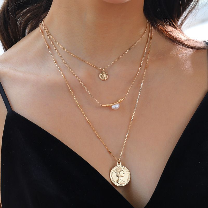 Fashion  multilayer  retro coin elbow pearl alloy necklace NHAN251927