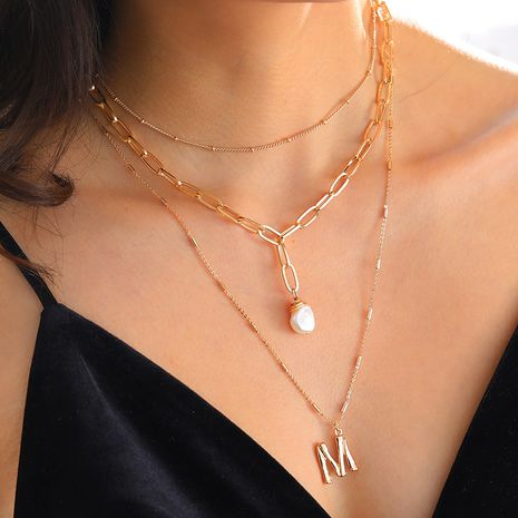 multi-layer necklace fashion small letter pendant natural pearl necklace wholesale NHAN251930's discount tags