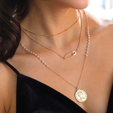 Double Vintage Coin Queen Elizabeth Pendant Necklace wholesale NHAN251932's discount tags