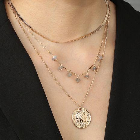 fashion Roman retro coin portrait natural stone multi-layer detachable clavicle chain necklace wholesale NHAN251936's discount tags