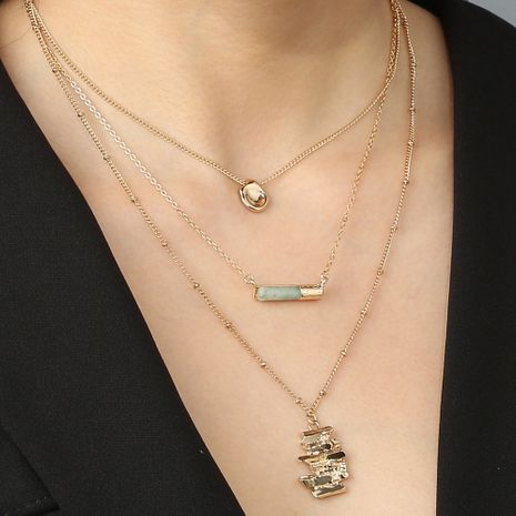 New fold irregular pendant emerald green round natural stone multilayer choker necklace wholesale NHAN251937's discount tags