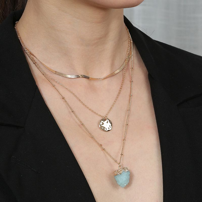 hot-selling blue fresh natural stone multi-layer detachable  alloy necklace NHAN251945