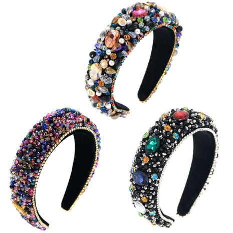 Venta caliente de vidrio cosido a mano, esponja de diamantes de imitación multicolor, versión grande, cadena de diamantes, diadema de graduación NHCO251970's discount tags