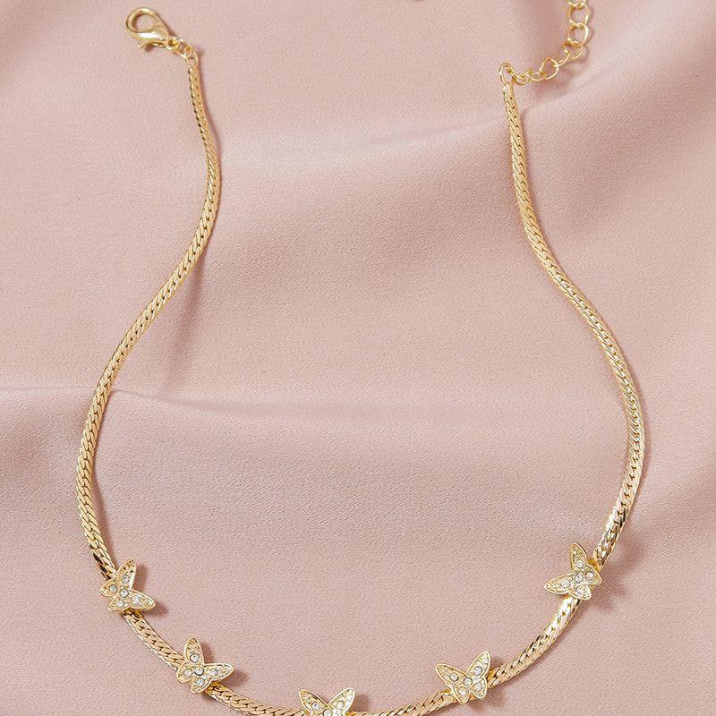 Fashion Diamond Butterfly  women's Necklace  NHGU251983