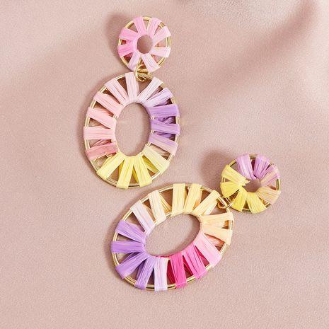 Sommermode neue Bast gewebte heiß verkaufte Legierung Ohrringe für Frauen NHGU252031's discount tags
