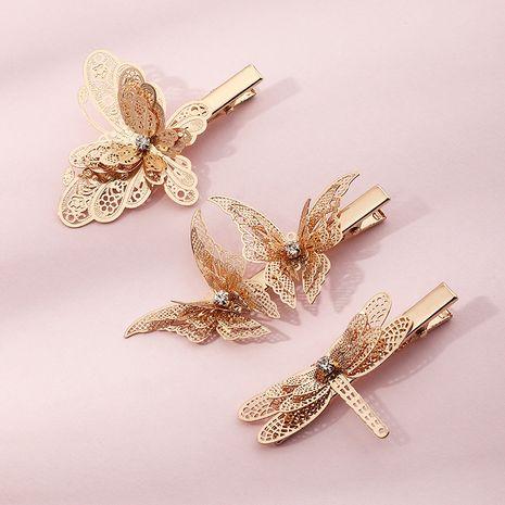 Pince à bec de canard libellule coréenne fille mignonne nœud papillon double couche doré en gros NHAU252074's discount tags