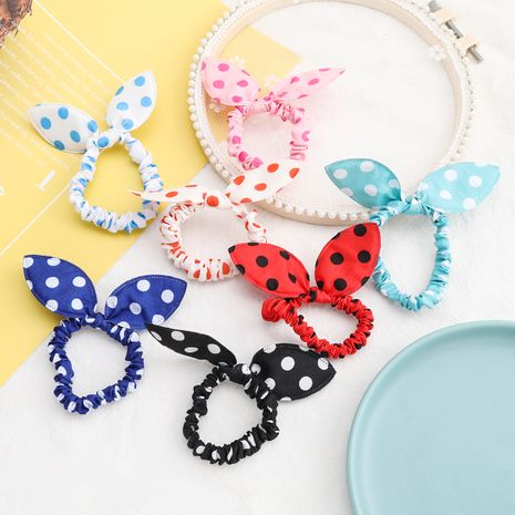 Korea Fashion Campus Dot Fabric Bow Tie Hair Rope wholesale NHJE252079's discount tags