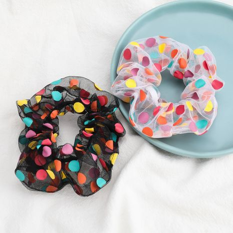 fashion color polka dot organza fabric Korean hair tie women's hair scrunchies wholesale NHJE252082's discount tags