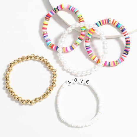 colorido disco de cerámica suave perla estilo hip-hop pulsera de cinco piezas para mujer NHJE252083's discount tags