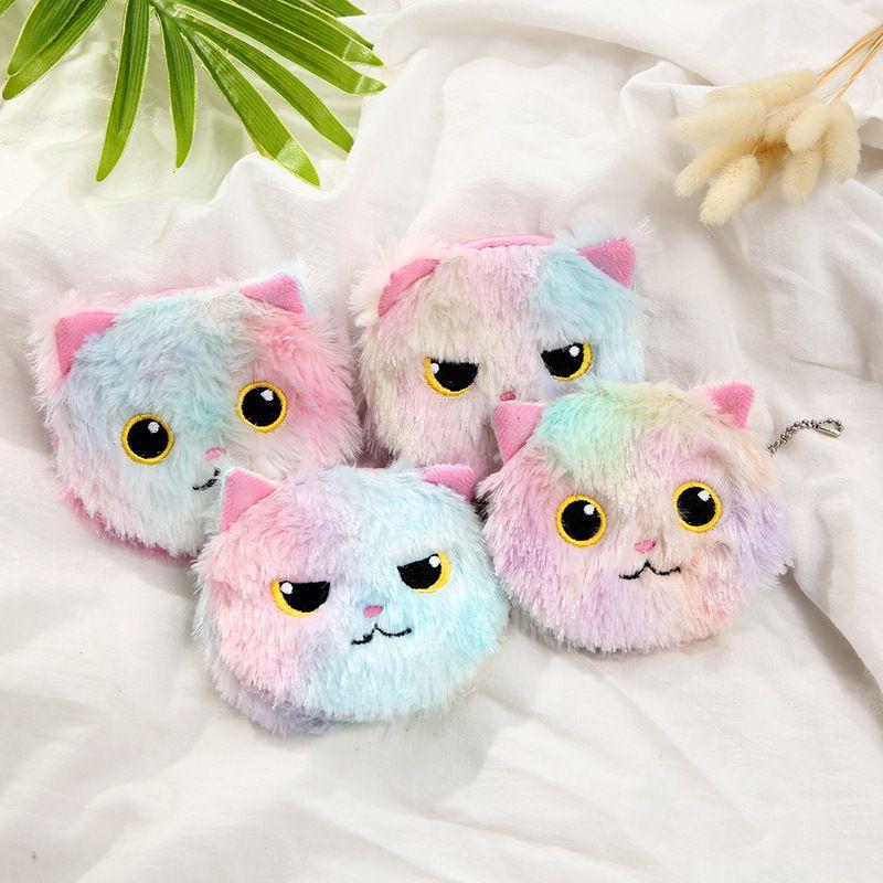 Korea cute plush cat ladies color cartoon storage coin purse wholesale NHAE252092