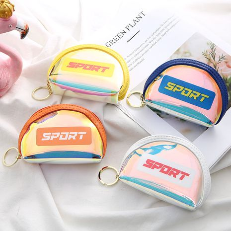 new laser semicircle jelly transparent letter storage bag coin purse wholesale NHAE252098's discount tags