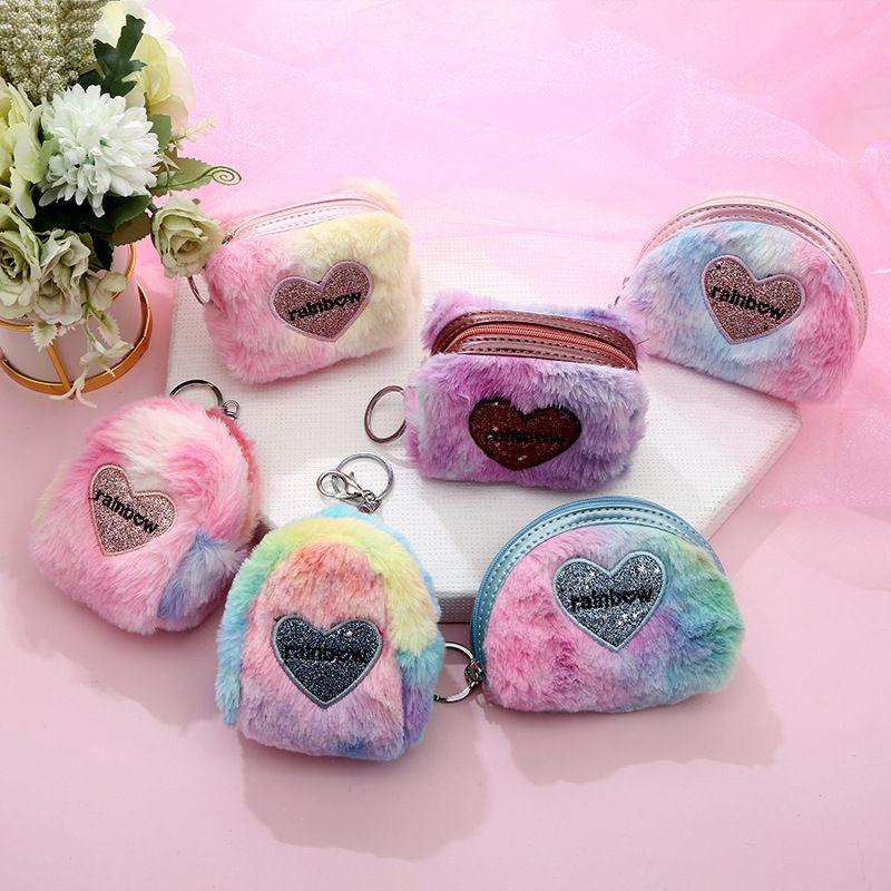 hot sale colorful heart-shaped plush mini wallet ladies storage coin purse wholesale NHAE252100