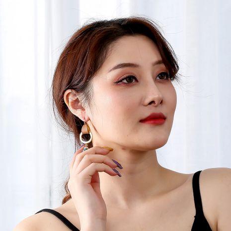 tendance de la mode boucles d'oreilles en alliage de cuir de pierre naturelle vert sauvage pour les femmes NHAN252116's discount tags