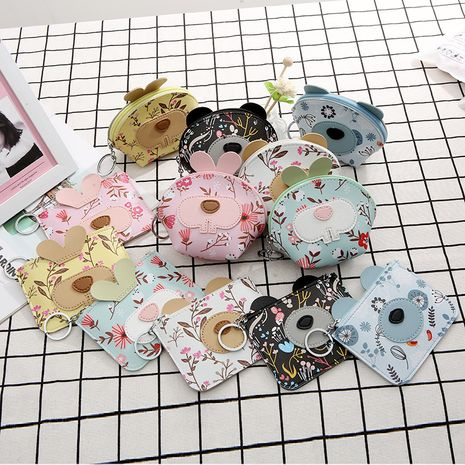 hot-selling small floral coin purse cartoon rabbit and bear print wallet ladies short card holder NHAE252126's discount tags