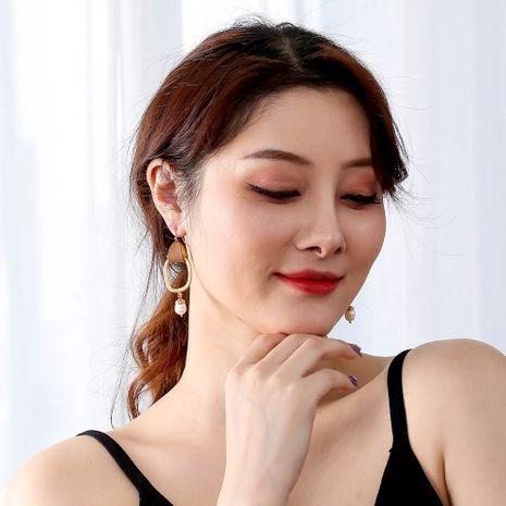 nouvelle mode boucles d'oreilles en cuir simple sauvage perle d'eau douce naturelle pour femmes NHAN252136's discount tags