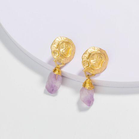 Boucles d'oreilles en alliage de pierre naturelle violette à remontage manuel NHAN252146's discount tags
