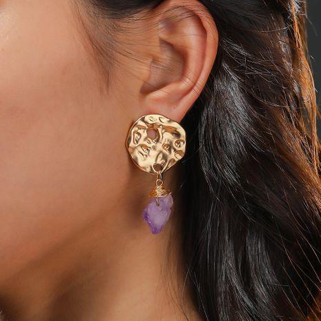 Pendientes de moda pendientes de piedra natural púrpura de bobinado irregular de metal caliente-vendedor NHAN252148's discount tags