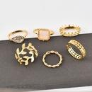 New Fashion Leaf Full Diamond Crown Womens Ring 6piece set wholesale NHAJ252173