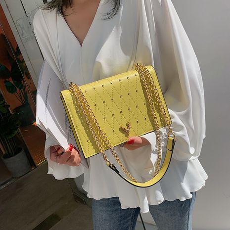 square  new Korean fashion rivet PU girl chain shoulder messenger bag wholesale NHLH252200's discount tags