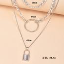 Fashion metal lock pendant multilayer womens necklace NHAJ252339