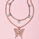 fashion pink diamond butterfly pendant womens necklace NHAJ252341